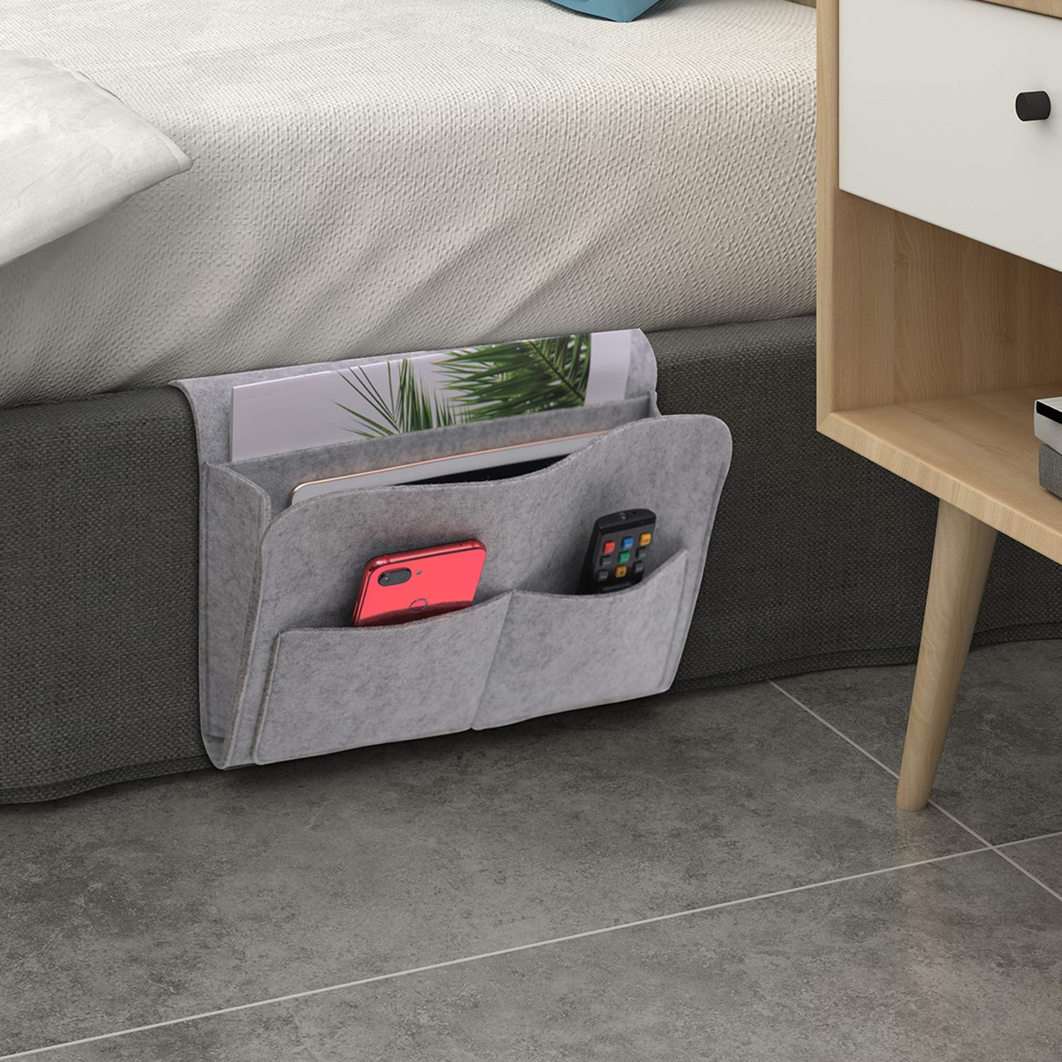 CHIFONG Bedside Caddy, Bedside Storage Organizer, Under Couch Table Mattress, Book Remote Glasses Caddy