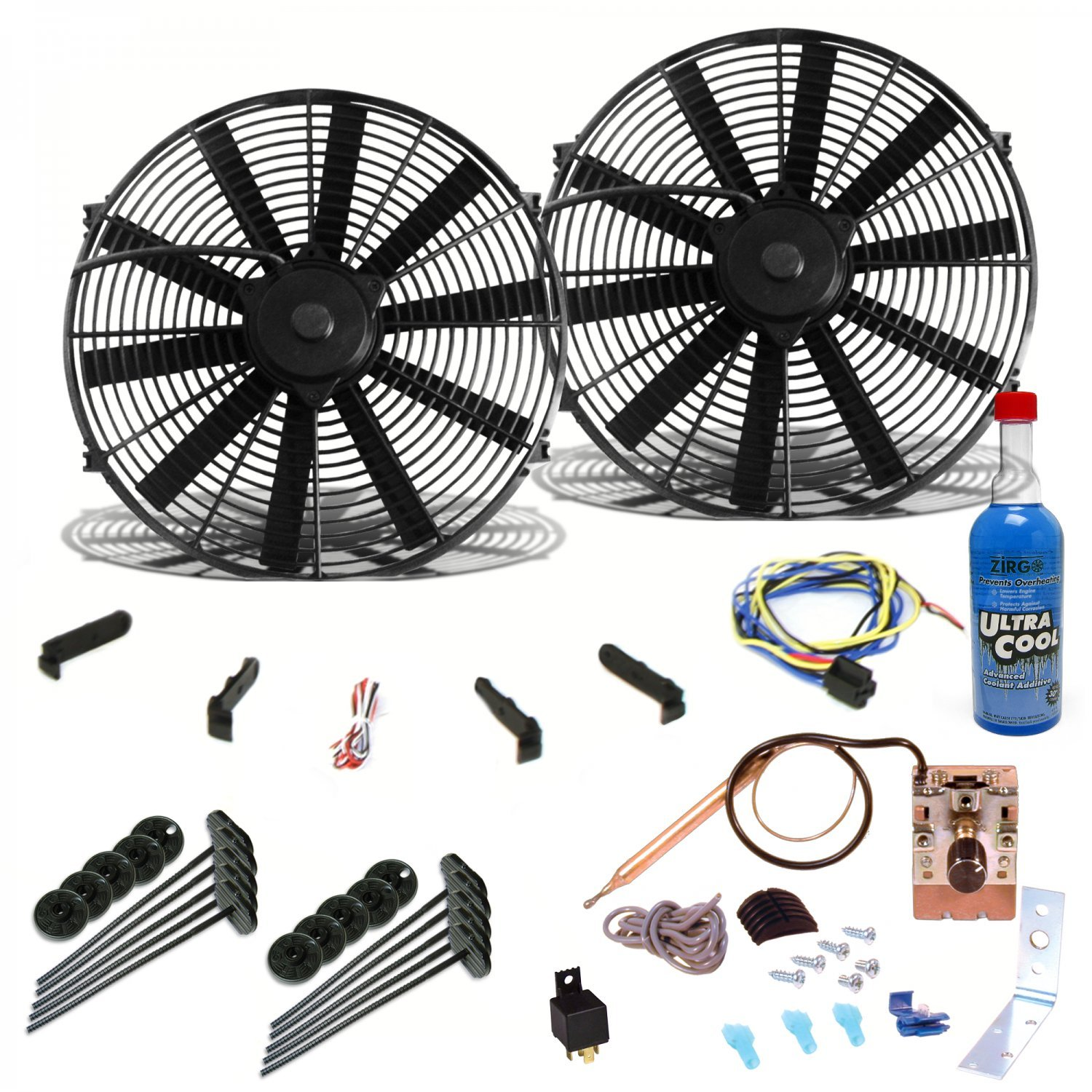 Zirgo 264106 Super Cool Pack (Two 1149 fCFM 10'' Fans, Adjustable Temp Switch, Harness, and Brackets and Additive) by Zirgo