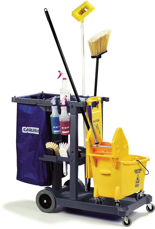 "Carlisle JC1945L23 Polyethylene Long Platform Janitorial Cart, 300 lbs  Capacity, 49"" Length x 19"" Width 39"" Height, Gray: Utility Carts:  Amazon.com: ..."