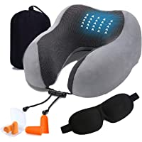 Travel Pillow, T Tersely Memory Foam Neck Pillow for Airplane Breathable & Washable Velour Cover Ergonomic Neck Support…