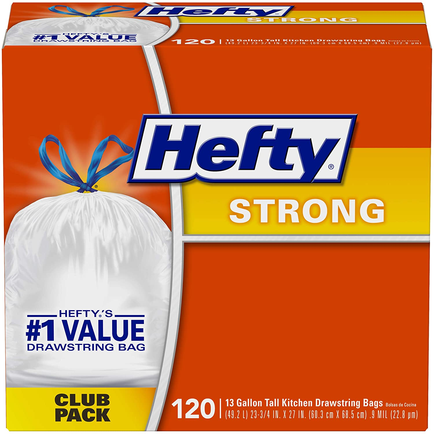 Hefty Strong Kitchen Trash Bags 13 Gallon Garbage Bags 120 Count