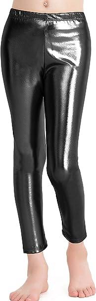 Fun Geo Shapes Metallic Leggings Shiny Spandex Girls Leggings TurquoisePurple Pants Metallic Puzzle Leggings