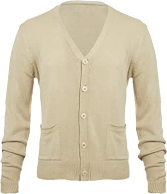 Forthery-Men Flat Knit Long Sleeve V-Neck Two Pocket Button Down Cardigan Sweater