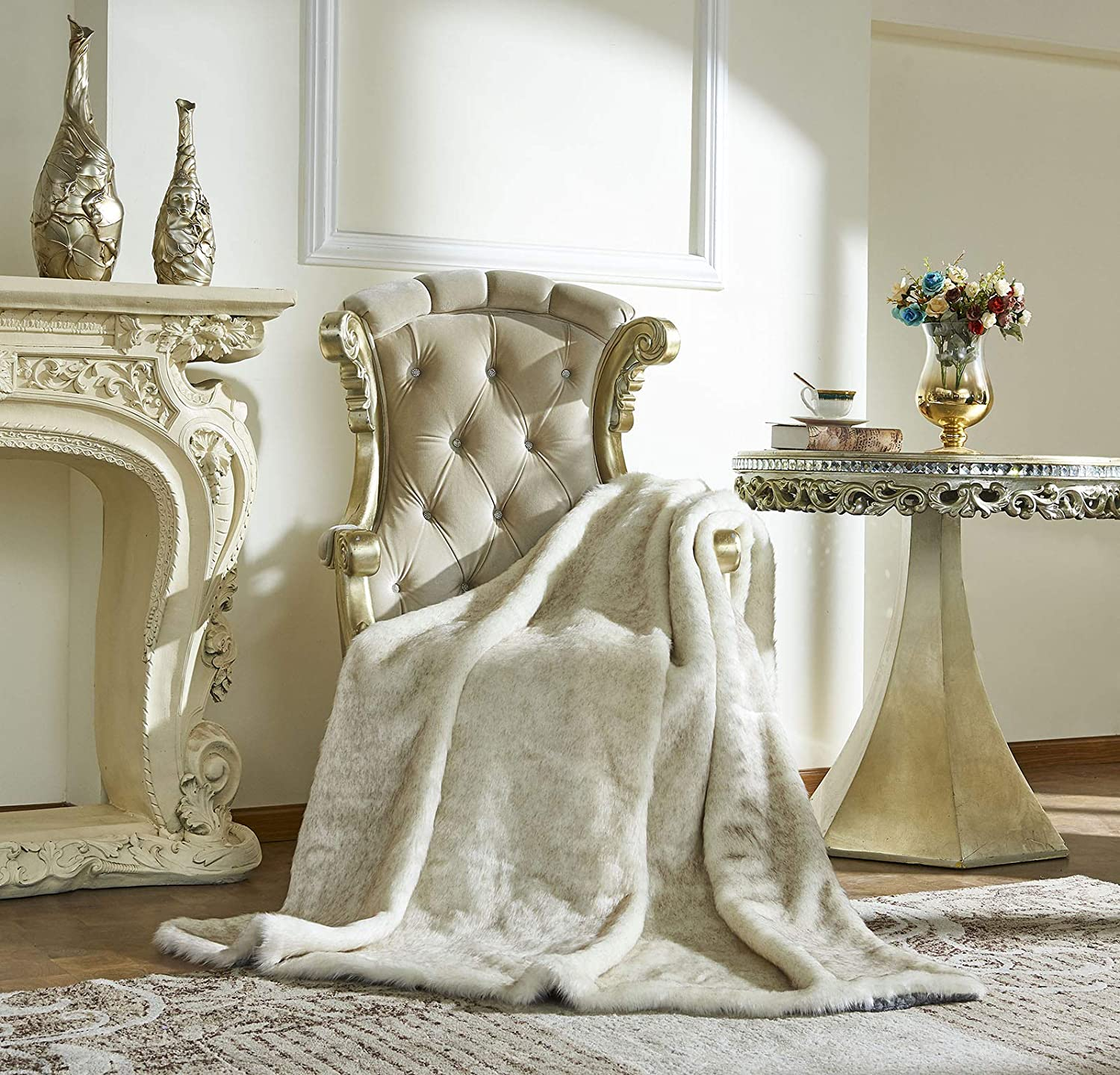 """Lindsey Home Fashion Faux Fur Throw, Blankets for Bed Super Soft Fiber, Mink, Wolf, Bear, Coyote, 60""""x84"""", 60""""x70"""", 60""""x60"""" (60x70(INCH), White Ferret)"""