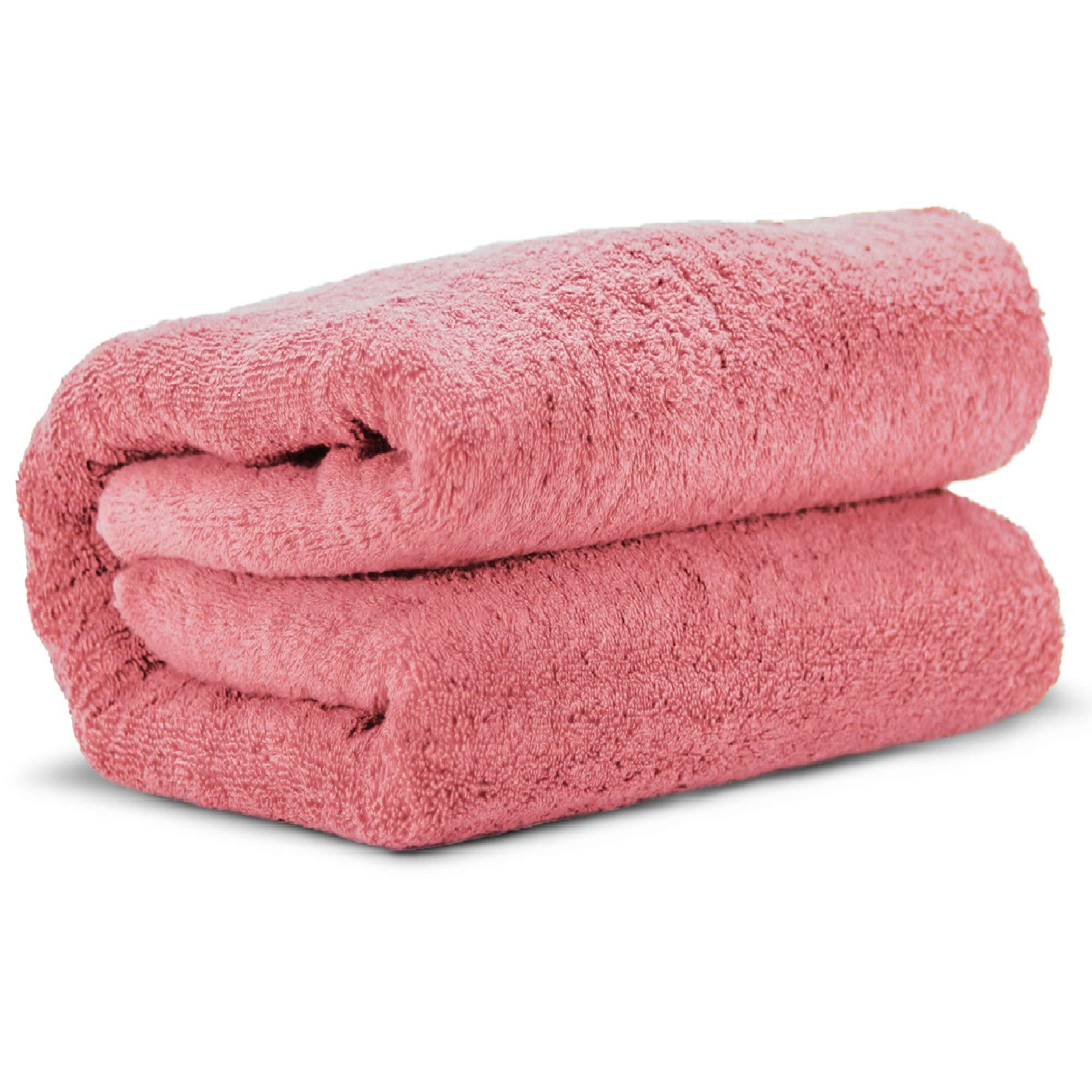 Towel Bazaar 100% Turkish Cotton Multipurpose Towels-Large Bath Sheet/Beach Towel/Bath Towel, Eco-Friendly (Oversized 40x80 inches, Pink)