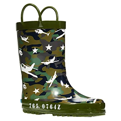 ff9843143577a Amazon.com | ZOOGS Children's Rubber Rain Boots, Little Kids & Toddler, Boys  & Girls Patterns, Green (Camouflage) | Boots