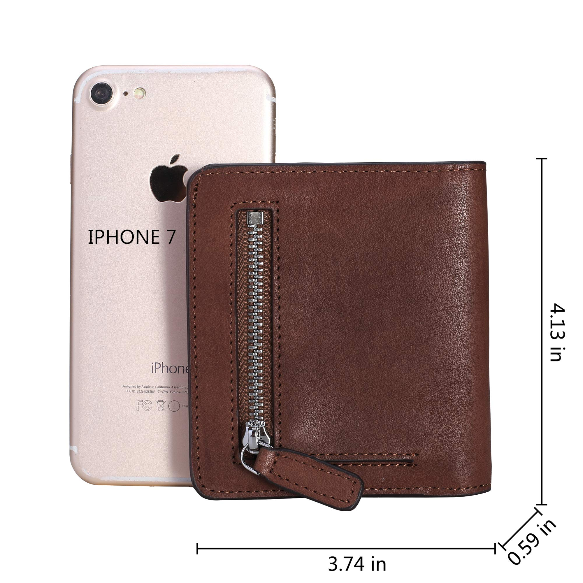 BIG SALE-AINIMOER Women's RFID Blocking Leather Small Compact Bifold Pocket Wallet Ladies Mini Purse with id Window (Vintage Brown) by AINIMOER (Image #5)