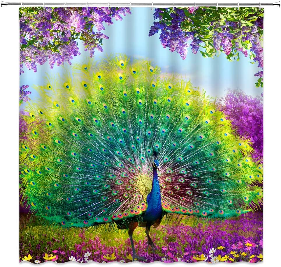 Jingjiji Fantasy Forest Shower Curtain Watercolor Peacock Feather Animal Colorful Wonderland Flowers Spring Scenery Bathroom Decoration Curtains Polyester Fabric with Hook