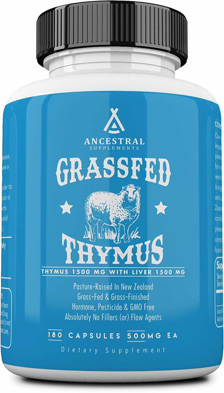 Ancestral Supplements Grass Fed Thymus Extract (Glandular) — Supports Immune, Histamine, Allergy Health (180 Capsules)