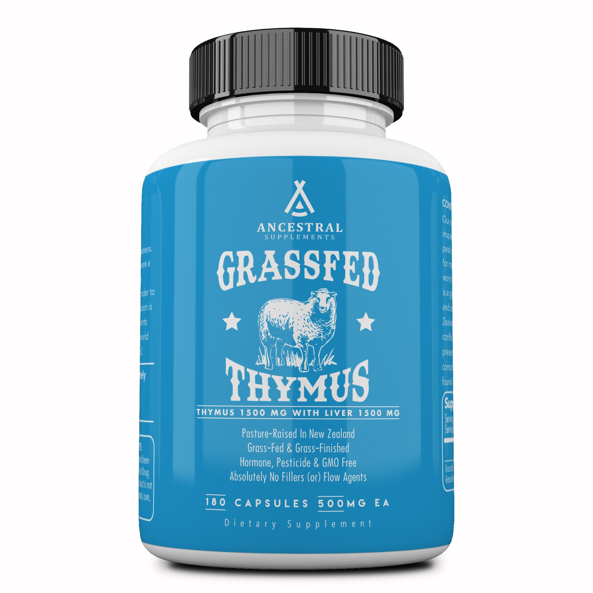 Ancestral Supplements Grass Fed Thymus Extract (Glandular) - Supports Immune, Histamine, Allergy Health (180 Capsules) by Ancestral Supplements