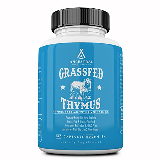 Ancestral Supplements Grass Fed Thymus Extract (Glandular) — Supports Immune & Allergy Health (180 Capsules) Best Natural Allergy Remedies