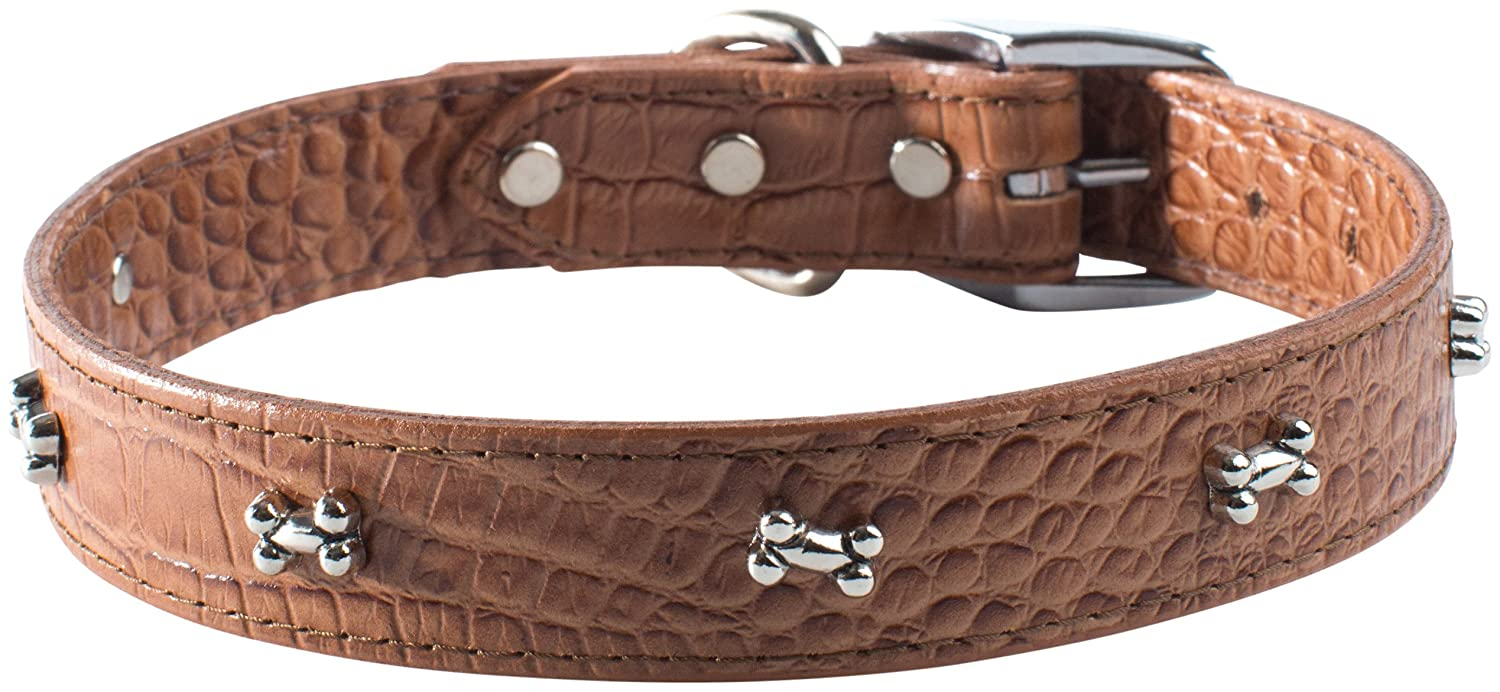 OmniPet Faux Crocodile Signature Leather Pet Collar with Bone Ornaments, Chocolate, 1 by 26