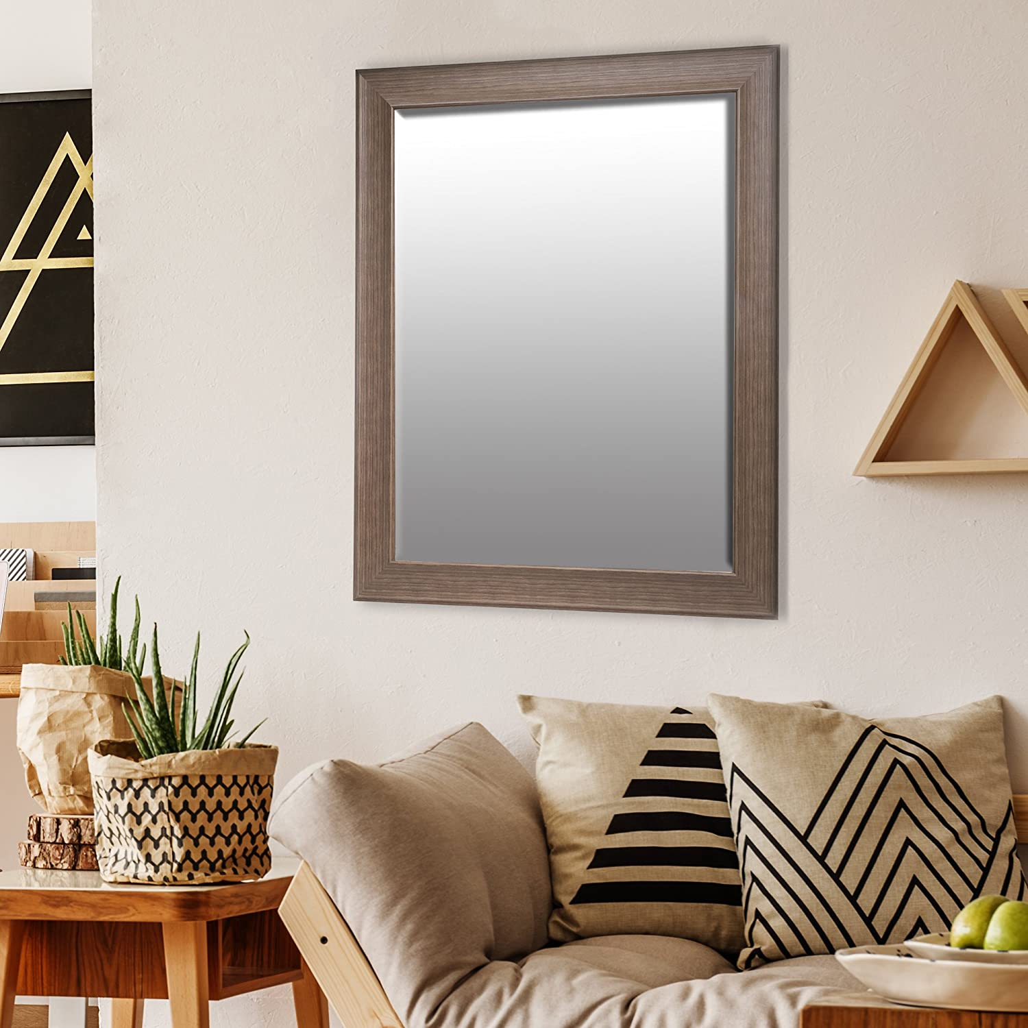Patton Wall Decor 22x28 Traditional Taupe Beveled Wall Mirror