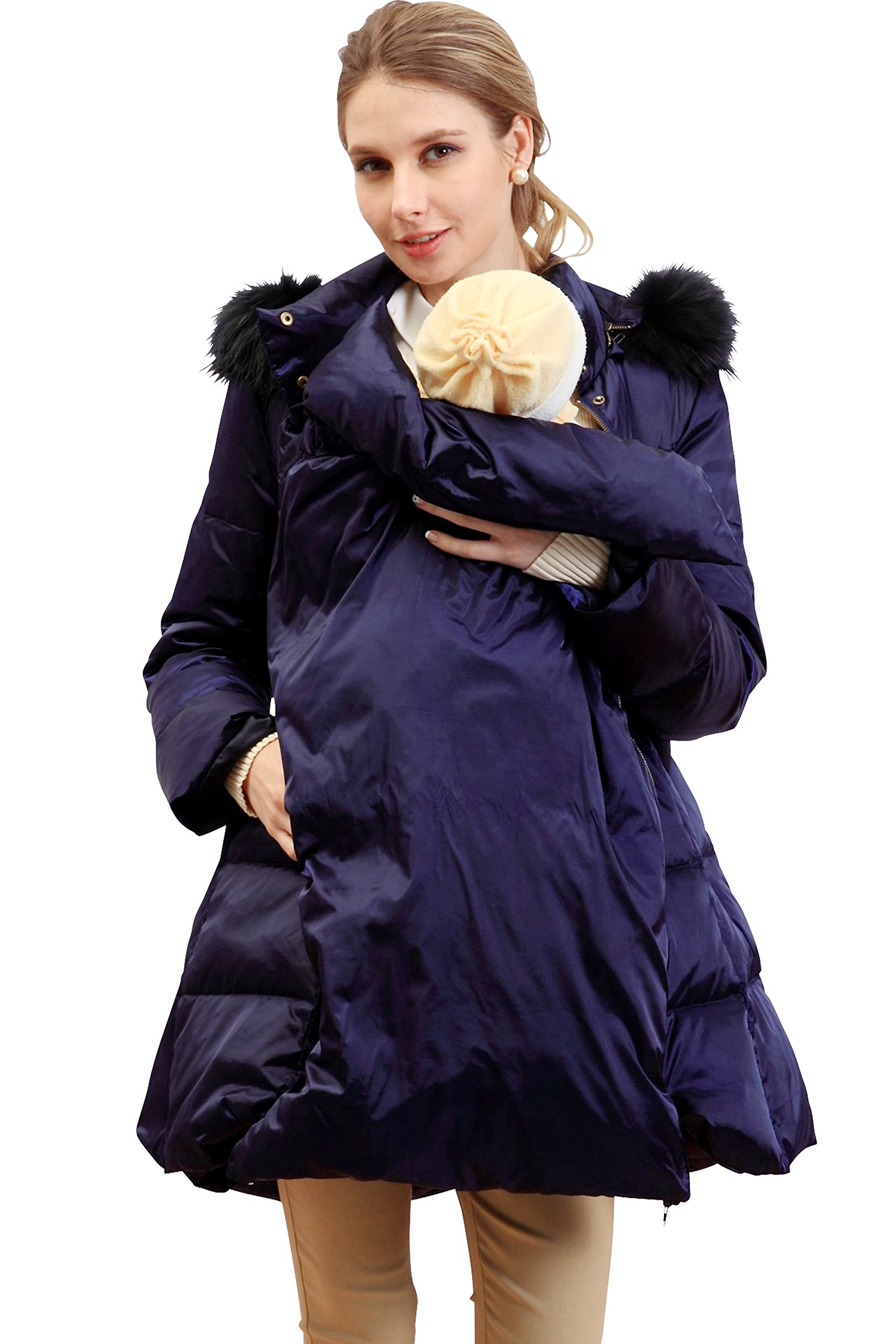 Sweet Mommy Fur Hood Maternity and Babywearing Down Coat Navy, L
