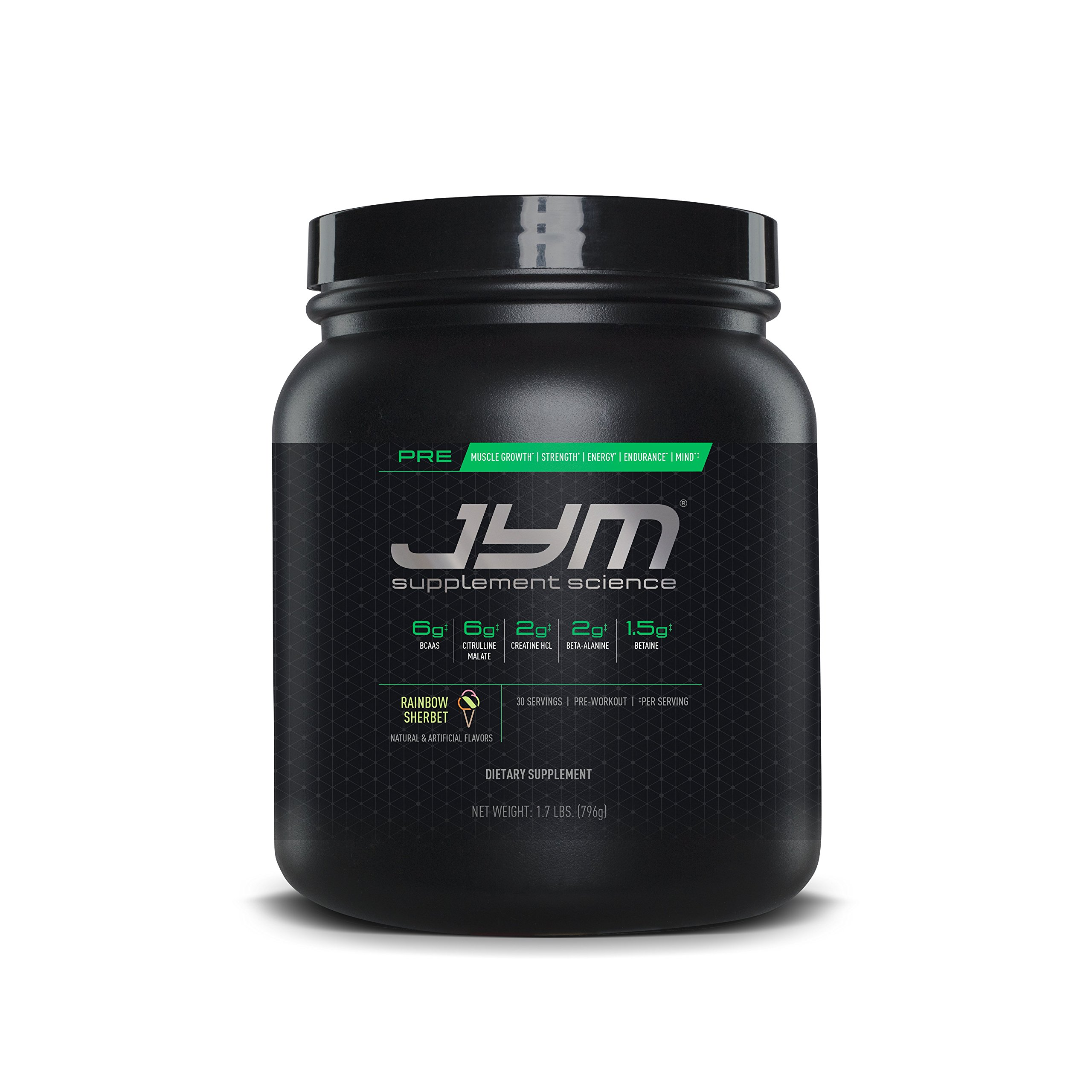 JYM Supplement Science, PRE JYM, Rainbow Sherbet, Pre-Workout with BCAA's, Creatine HCI, Citrulline Malate, Beta-Alanine, Betaine, Alpha-GPC, Beet Root Extract and More, 30 Servings