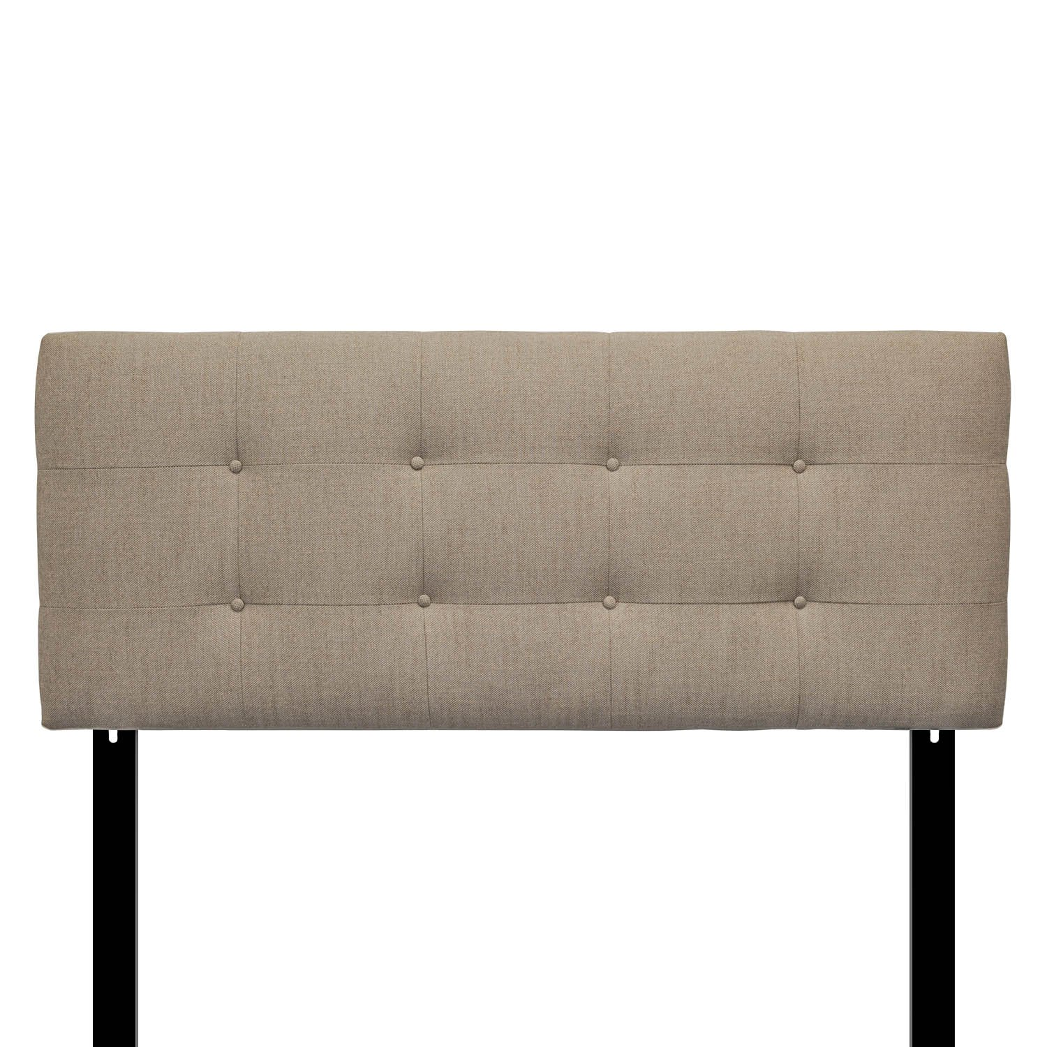 Sole Designs Ali Collection Padded Adjustable California King Sized Upholstered Bedroom Headboard with 8 Button Tufting, Arcadia, Peble Finish by Sole Designs