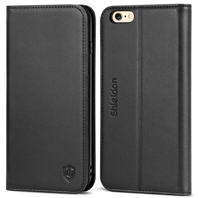 91386ec699227 SHIELDON Genuine Leather iPhone 6s Wallet Case Flip Book Cover Design with  Kickstand Function and ID