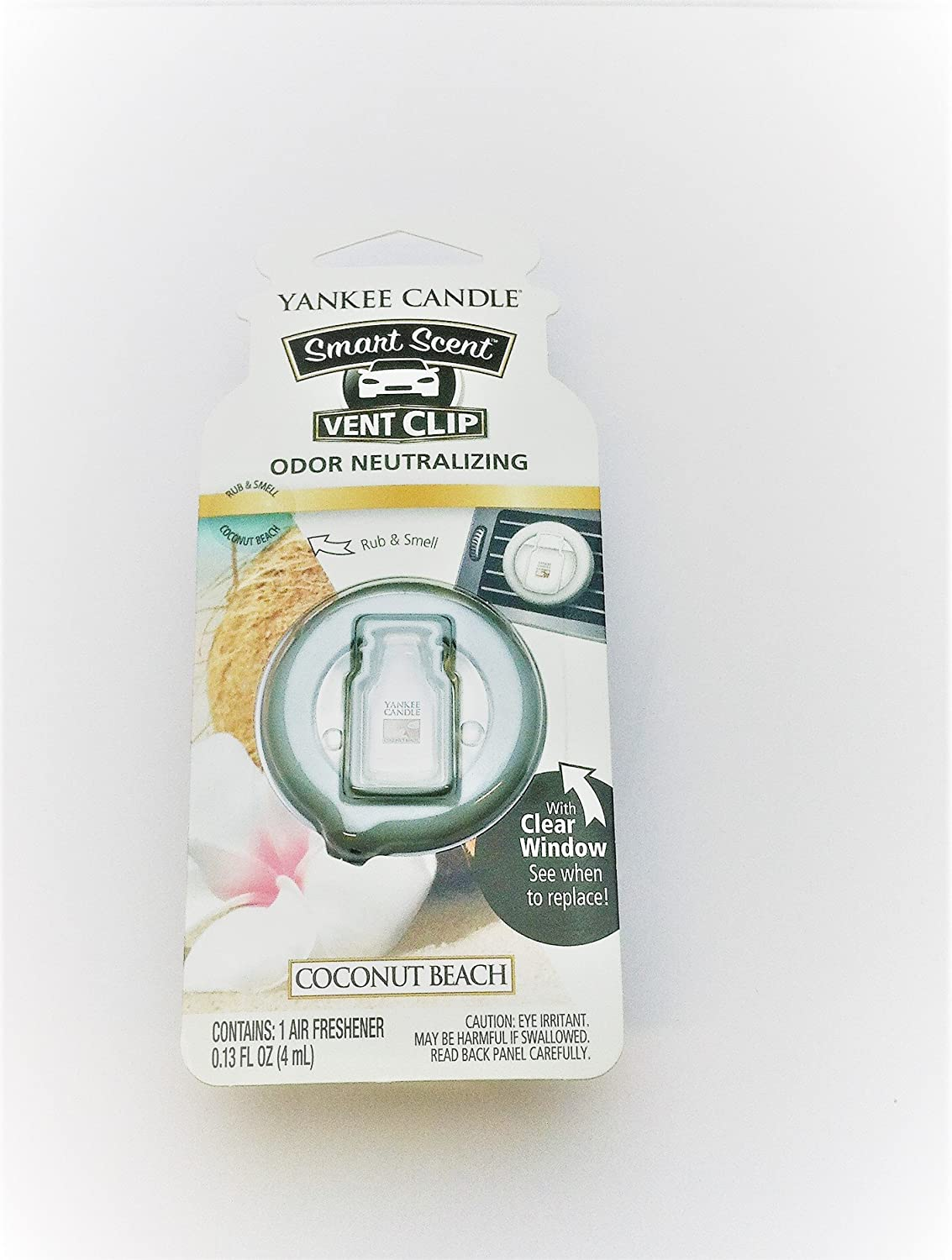 Yankee Candle Coconut Beach Smart Scent Car Vent Clip Air Freshener, Fresh Scent