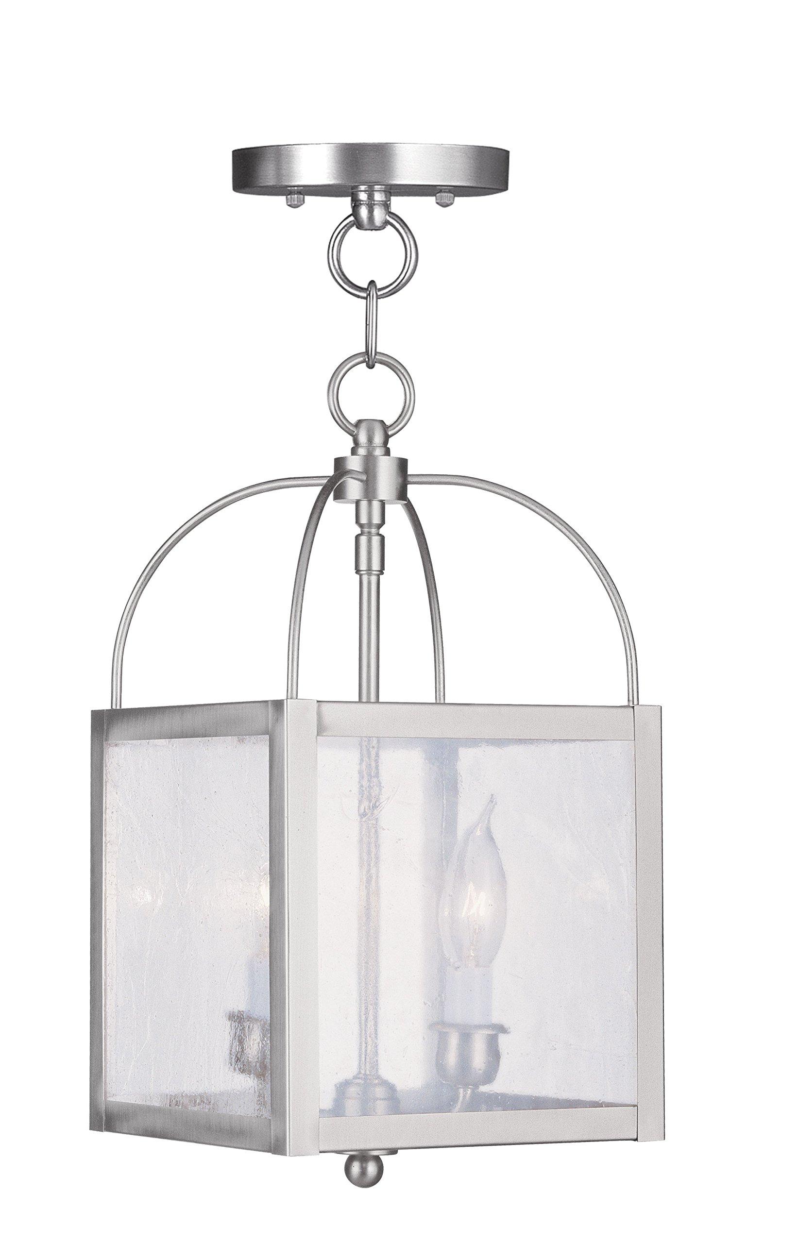 Livex Lighting 4045-91 Milford 2-Light Convertible Hanging Lantern/Ceiling Mount, Brushed Nickel
