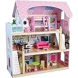 Kids House Casa de Muñecas de Madera con Muebles - Mila - Casita de Juguete para Niñas con Accesorios