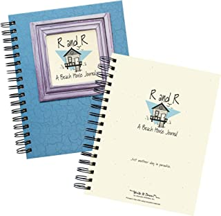 """product image for Journals Unlimited""""Write it Down!"""" Series Guided Journal, R and R, A Beach House Journal, with a Blue Hard Cover, Made of Recycled Materials, 7.5""""x 9"""""""