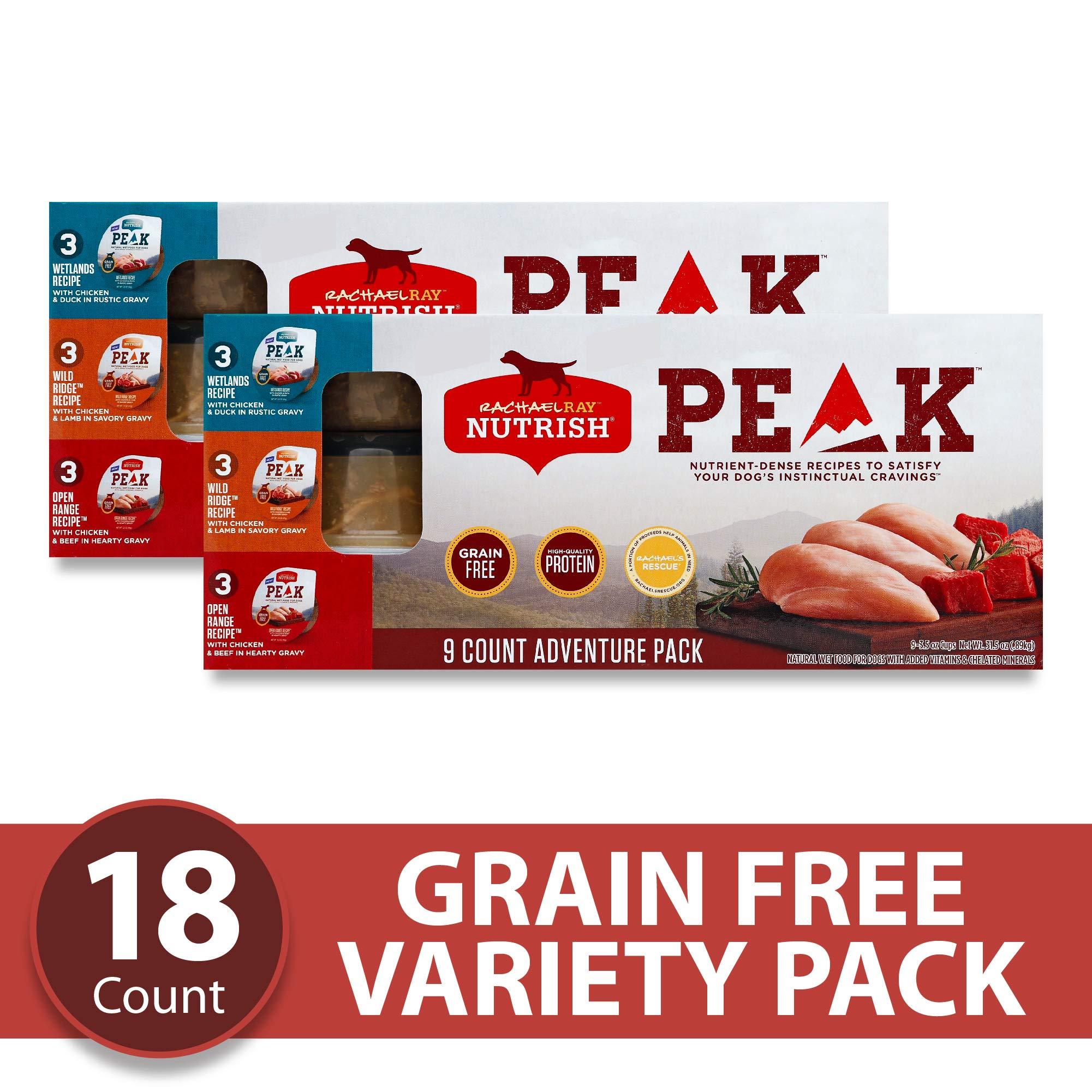 Rachael Ray Nutrish PEAK Natural Premium Wet Dog Food Variety Pack, Grain Free Adventure Pack, 3.5 Oz. Tub (Pack Of 18) by Rachael Ray Nutrish