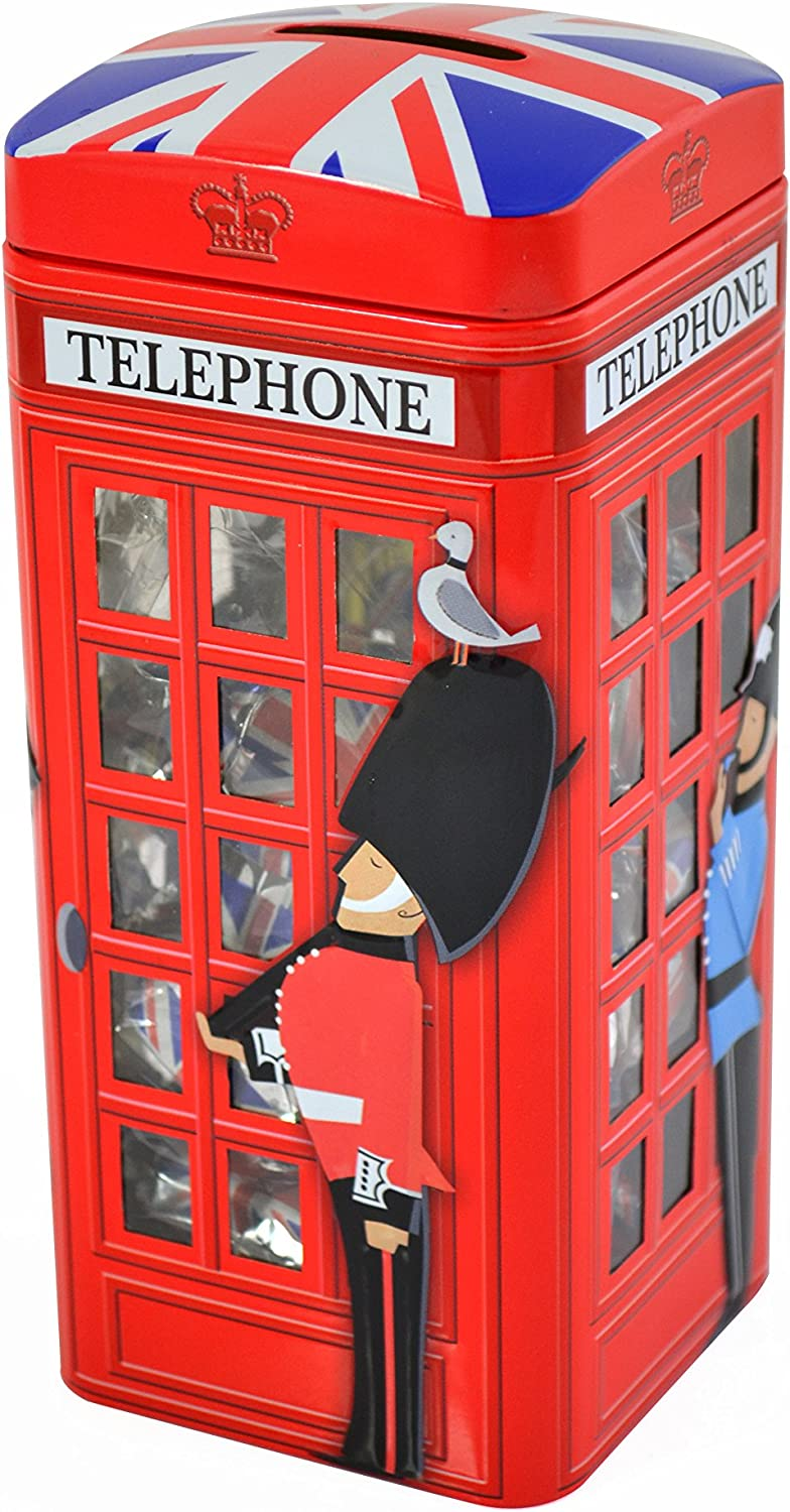 Classic British Red Telephone Money Box filled with mouth-watering vanilla fudge