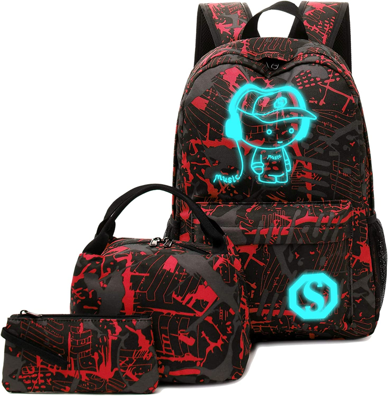 School Backpack Set Students Casual Travel School Bookbag Teens Girls Boys Schoolbag