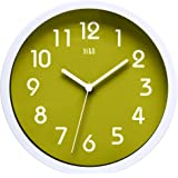 hito Silent Wall Clock, 10 inch Non ticking Excellent Accurate Sweep Movement Glass Cover, Decorative for Kitchen, Living Room, Bathroom, Bedroom, Office (Green)
