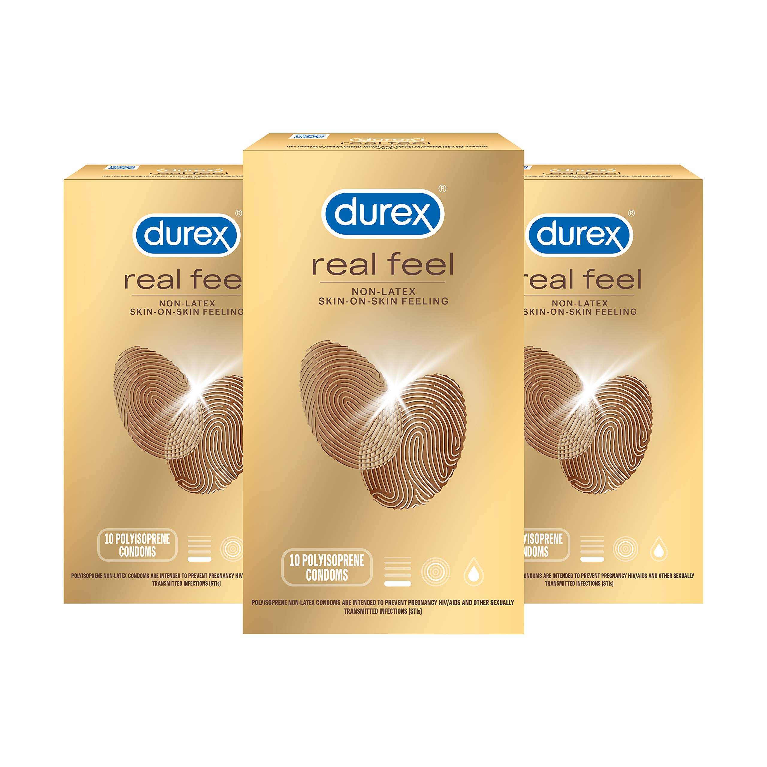 Durex Avanti Bare Real Feel Condoms, Non Latex Lubricated Condoms for Men with Natural Skin on Skin Feeling, FSA & HSA Eligible, 10 Count (Pack of 3)