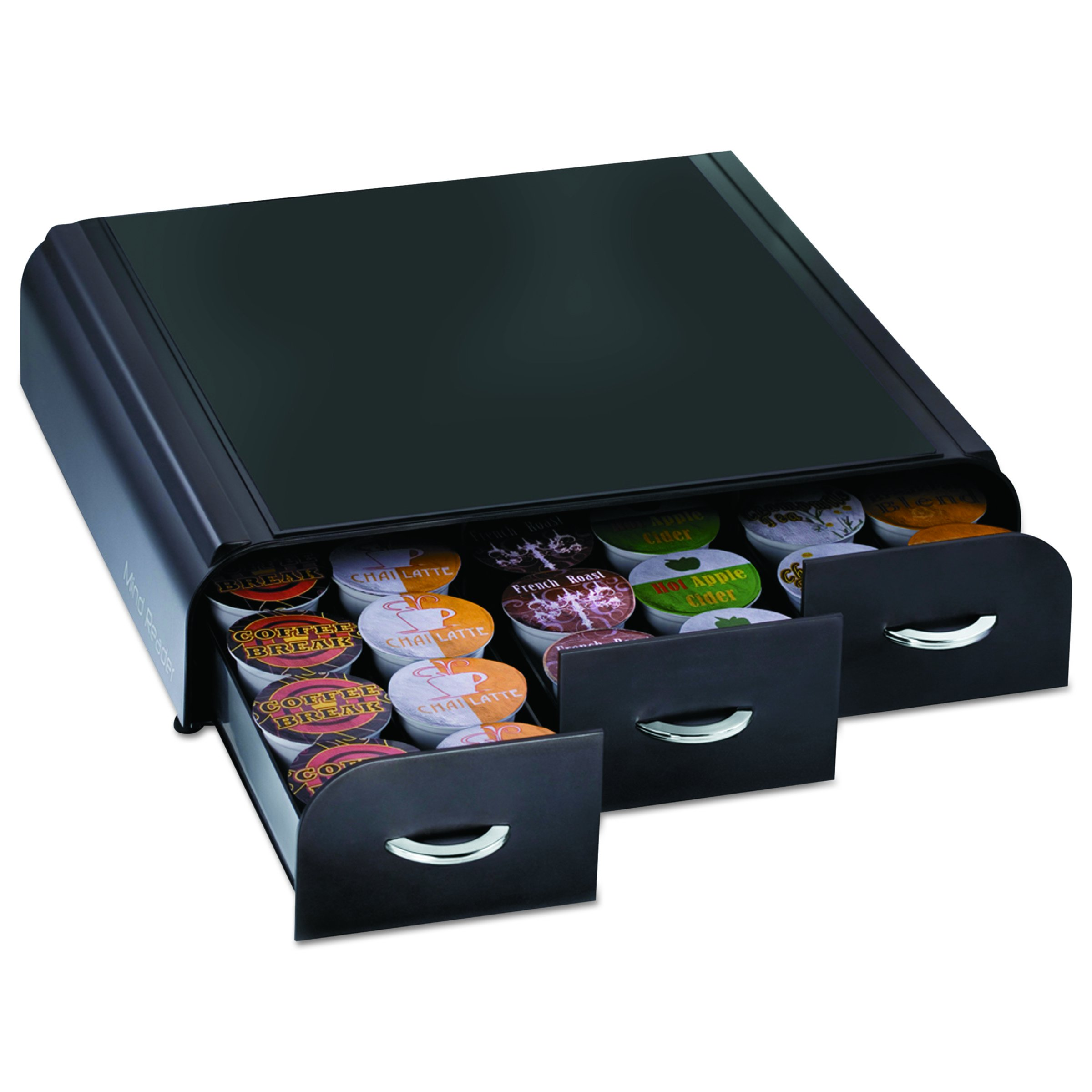 Mind Reader 'Anchor' Triple Drawer K-Cup Dolce Gusto, CBTL, Verismo Single Serve Coffee Pod Holder, Black by Mind Reader (Image #3)