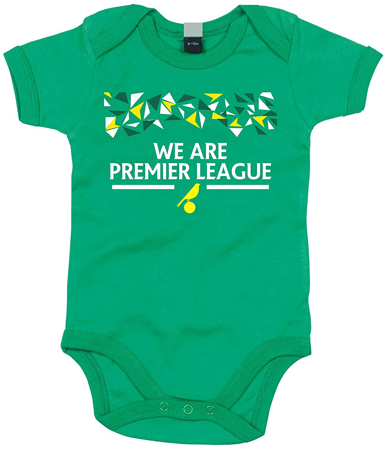Football Novelty Norwich City Themed We are Premier League Personalised W//Reverse Name and Number Girls Boys Unisex Bodysuit Uveeka