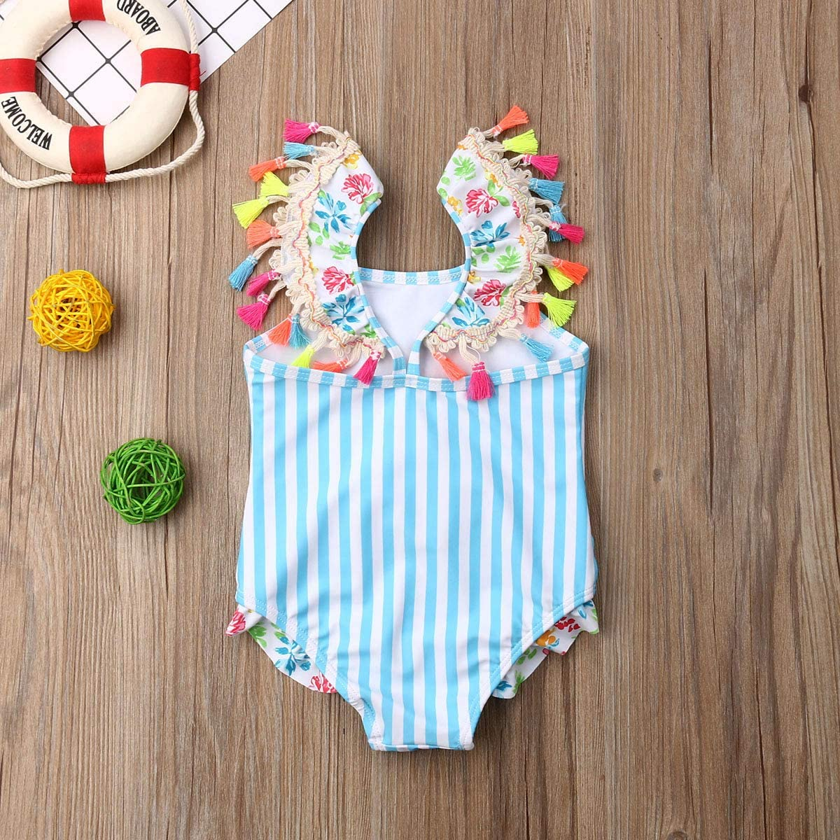 Kids Toddler Baby Girl One Piece Swimsuit Beach Wear Striped Flamingo Tassels Swimwear Bathing Suits 0-7T