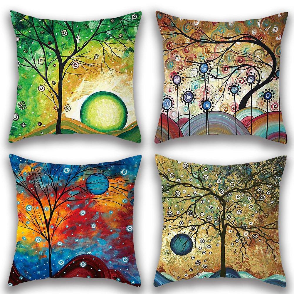 JOTOM - Juego de 4 fundas de almohada de lino y algodón suave, decorativas para el hogar, cuadradas, 45 x 45 cm