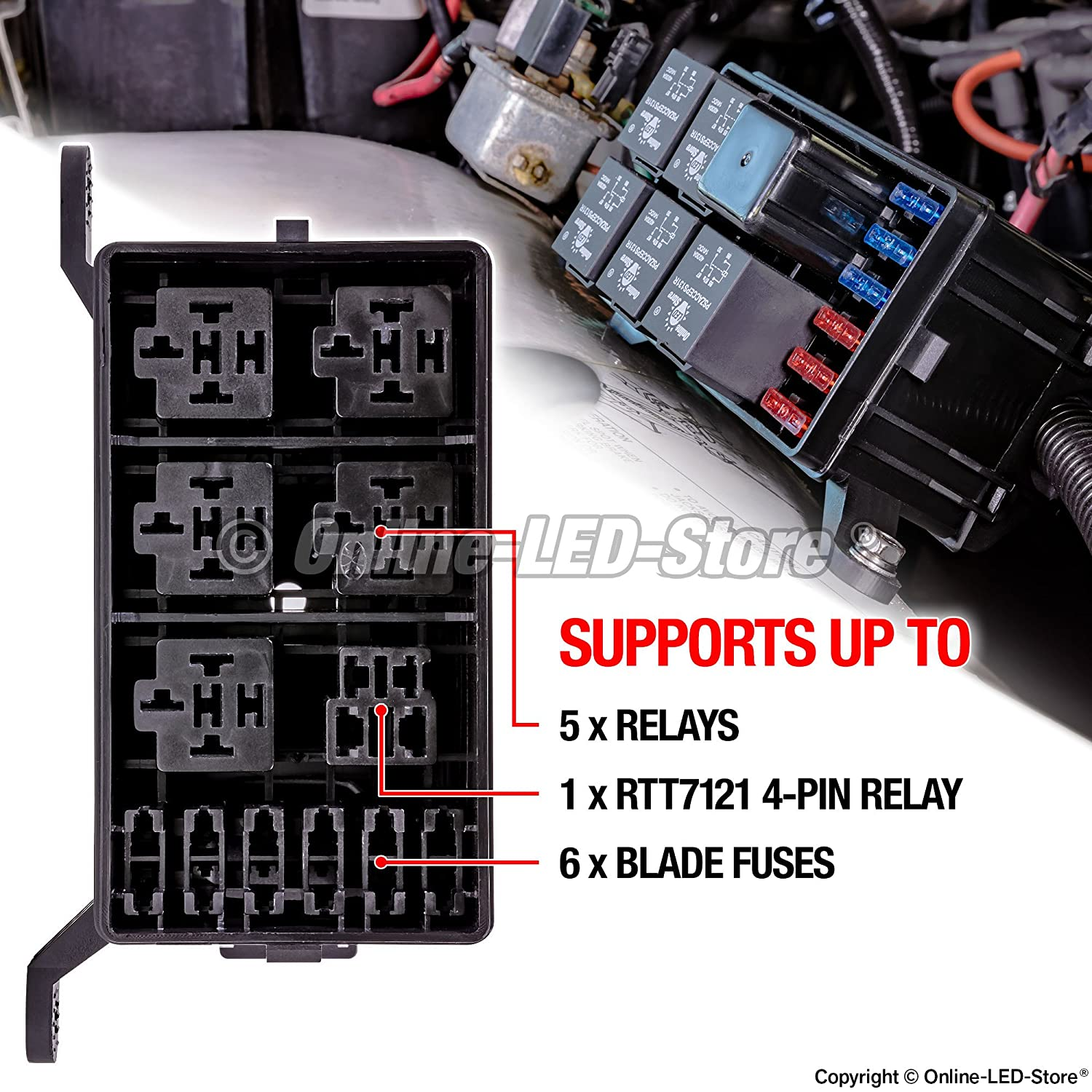 Amazon.com: ONLINE LED STORE 12-Slot Relay Box [6 Relays] [6 Blade Fuses]  [Bosch Style Relays] [Easy Installation] [OEM Factory Look] - Fuse Relay Box  for ...