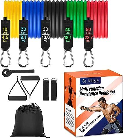 Heavy Fitness Resistance Band Set 11pcs Home Gym Fitness Elestic Tubes Kit