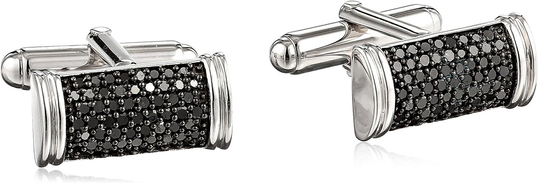 Sterling Silver Black Diamond Men's Cuff Links (1 cttw)