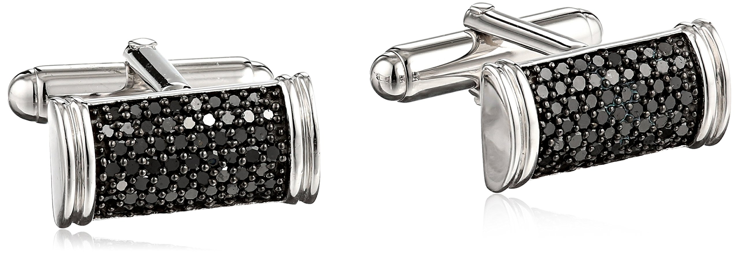 Sterling Silver Black Diamond Men's Cuff Links (1 cttw)