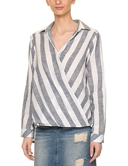 65e5dfd2cf086 Glamorous Women s Striped Shirt Light Blue  Amazon.co.uk  Clothing