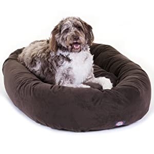 Suede Bagel Bolster Dog Bed By Majestic Pet