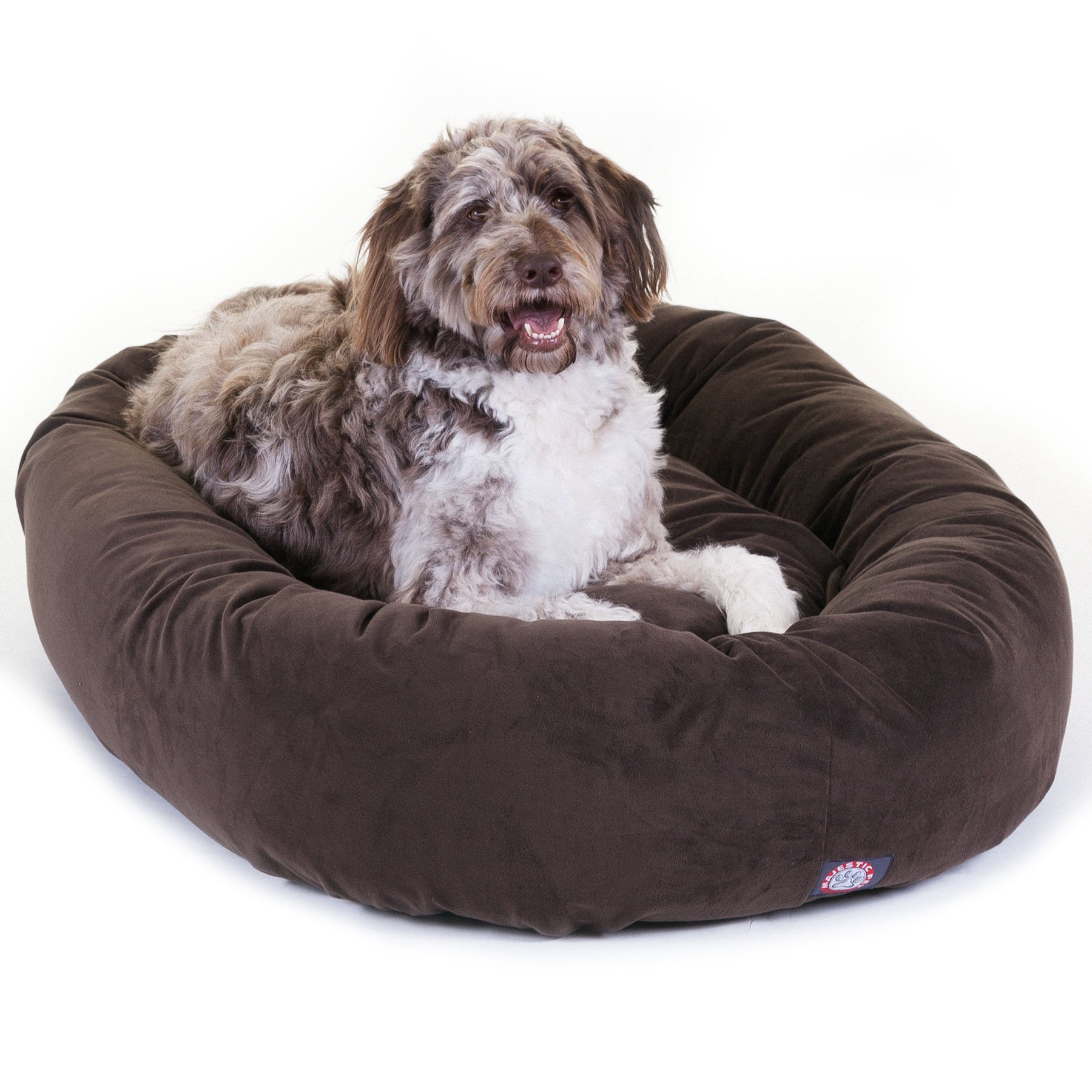 Majestic Pet Suede Bagel Dog Bed Chocolate 52-Inch 6