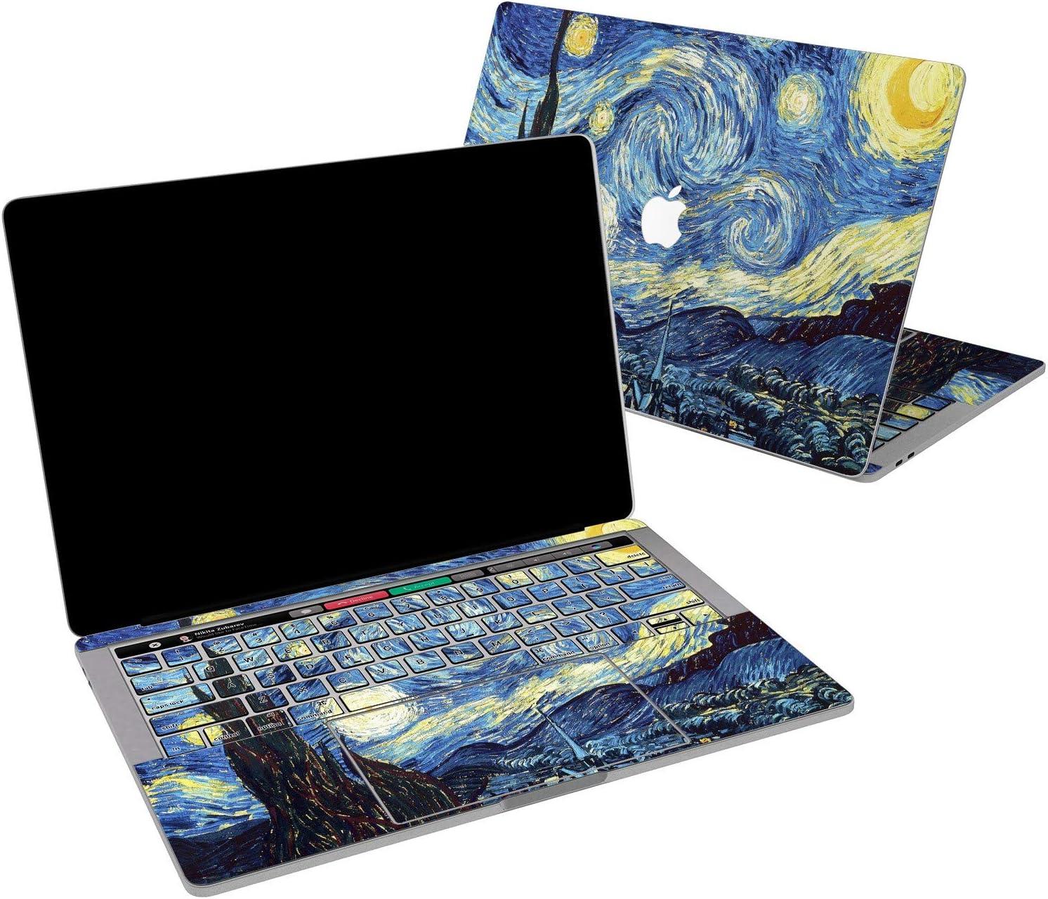 Lex Altern Vinyl Skin for MacBook Air 13 inch Mac Pro 16 15 Retina 12 11 2020 2019 2018 2017 Starry Night Van Gogh Artwork Blue Yellow Painting Laptop Cover Keyboard Decal Sticker Touch Bar Women
