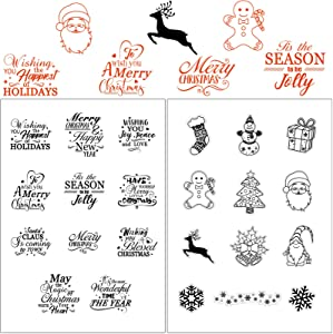 Merry Christmas Theme Clear Stamps New Year Clear Craft Stamps Blessing Words Clear Stamps Christmas Pattern Santa Claus Card Stamps for Card Making Scrapbooking, 23 Designs in 2 Sheets
