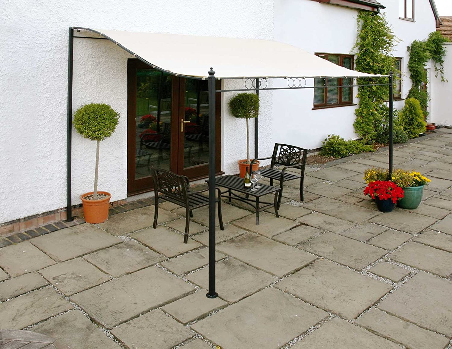 Wall Mounted Canopy Gazebo 3 Metre Easy Fit Sunshade Awning For Patio Decking Terrace Removeable Canopy Cover walford