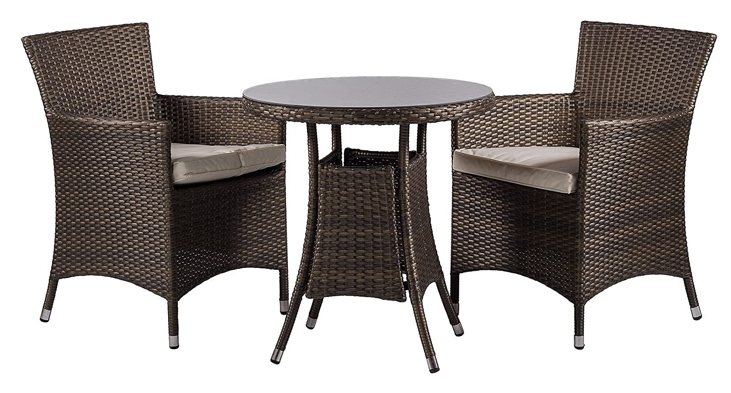 colorado 2 seat chairs rattan garden furniture set round glass dining table seat cushions weather proof dust cover lounge set outdoor patio