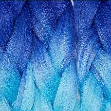 60cm 5PCS Pelo Sintético para Trenzas Africanas [Azul Oscuro & Azul Claro] (500g)