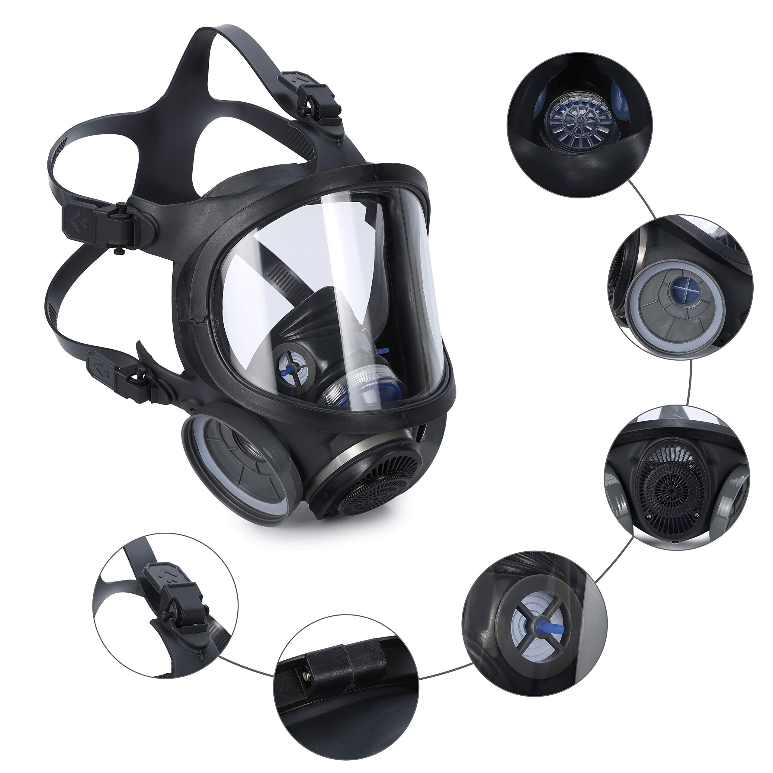 Holulo ST-M70-3 Organic Full Face Respirator Safety Mask (ST-M70-3 Mask+1 Pair 3# filter Cartridges) by Holulo (Image #3)