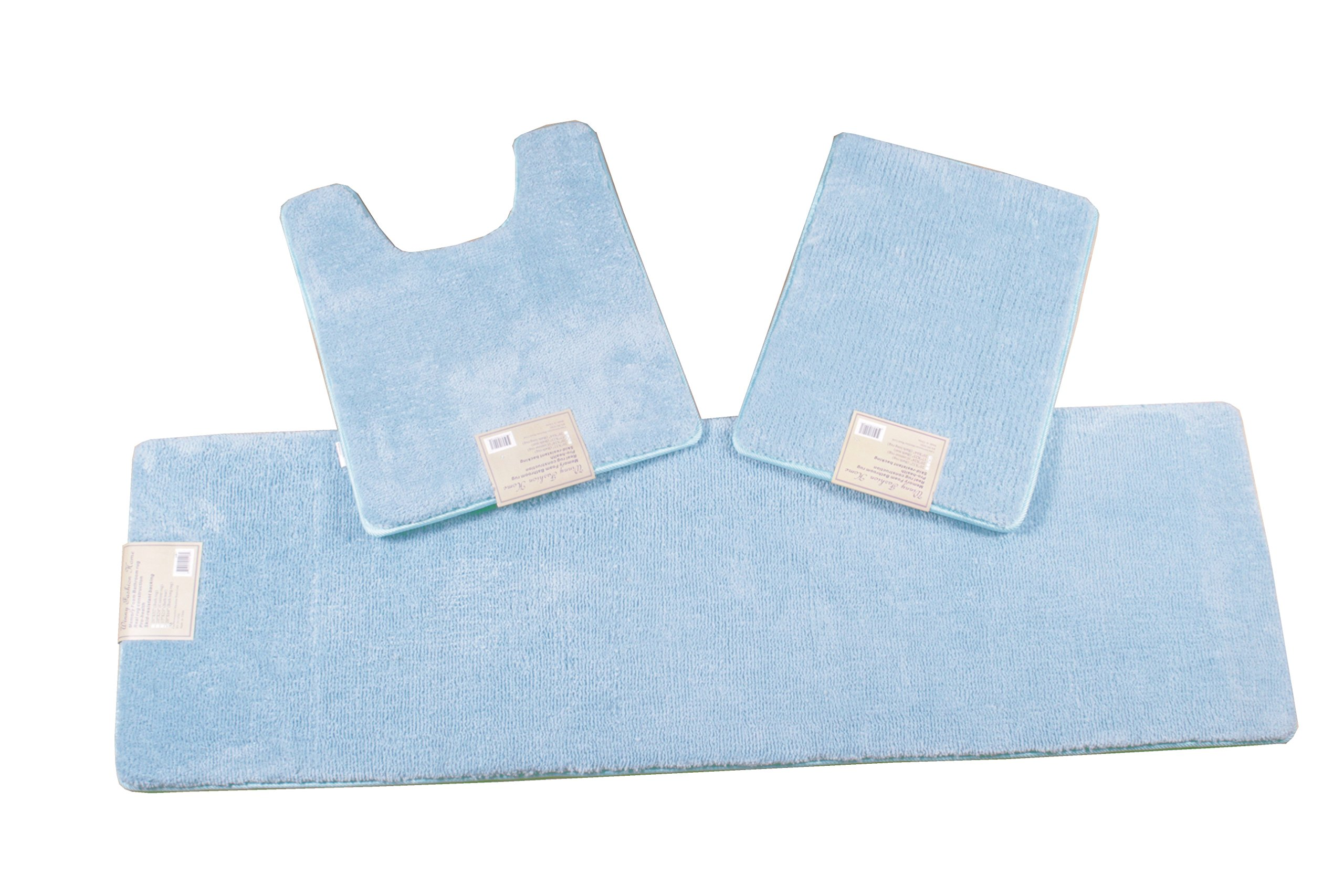 3 Piece Non-slip Memory Foam Bathmat Set (20x24''+17x23''+20x64'') ( Blue)