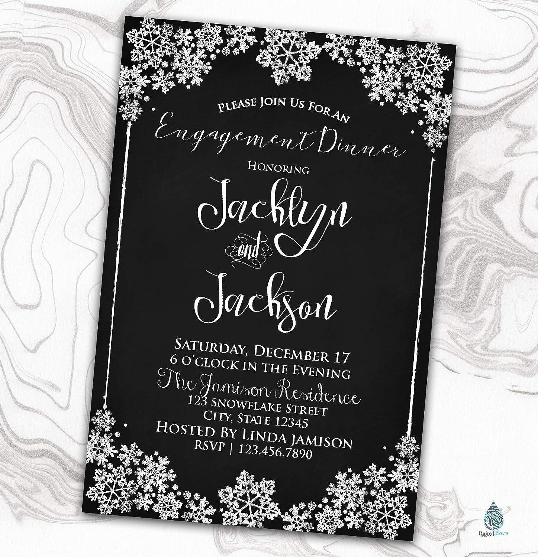Amazon Com Snowflake Engagement Invitation Winter Wedding