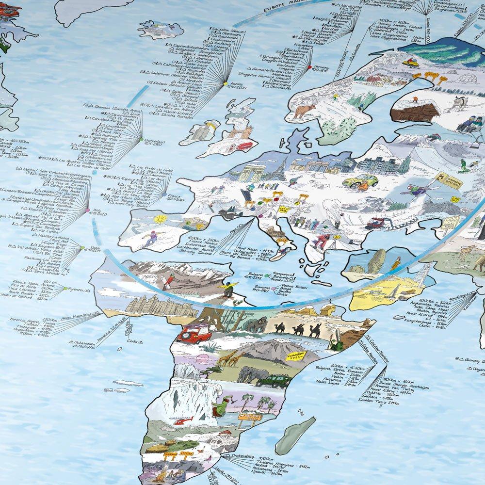 snowtripmap - die besten Skigebiete der Welt, illustrierte Weltkarte: Die höchsten Berge, besten Skigebiete, beste Schnee, liebevolle Illustrationen ... einem einzigartigen Format. Legende Englisch
